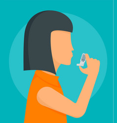 woman take inhaler background flat style vector image