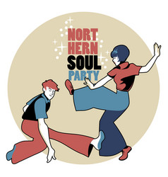 Young couple wearing retro clothes 60s dancing vector