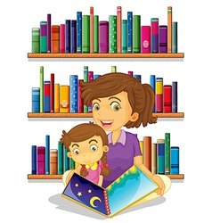 A mother with her daughter reading a book vector image vector image
