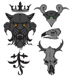 animal heads vector image vector image