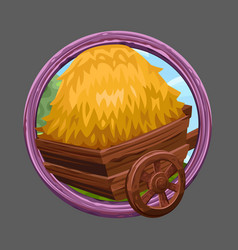 Cart with hay icon vector