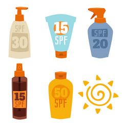 cream sunscreen bottle isolated on white vector image