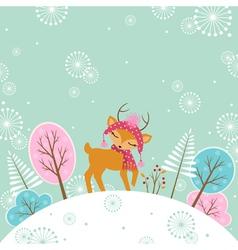 Cute winter deer vector