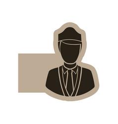 dark contour guard person icon vector image