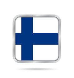 flag of finland shiny metallic gray square button vector image vector image