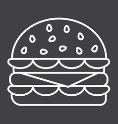 hamburger line icon food and drink fast food vector image