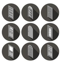 isometric set of flat icons doors vector image vector image