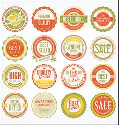retro vintage design quality badges collection 4 vector image