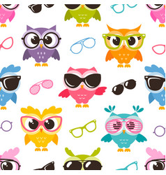 seamless pattern with colorful funny owls with vector image vector image