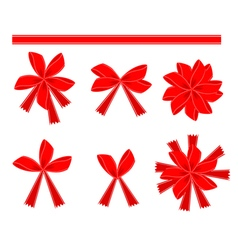 Set of 6 Red Bows and Ribbons vector image vector image