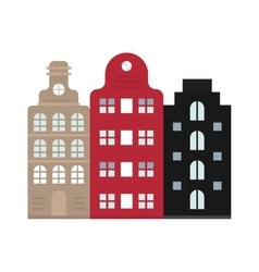Traditional old buildings Amsterdam house vector image vector image