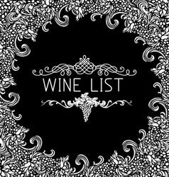 Black and white wine list design vector image
