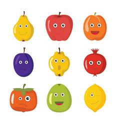 cartoon fruits characters vector image