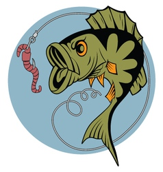 Cartoon perch and a worm vector image vector image