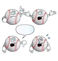 Crying baseball set vector image