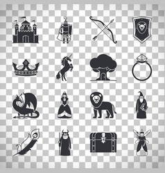 fairytale icons on transparent background vector image vector image