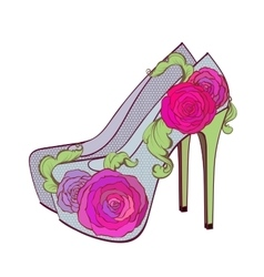 Fasion high - heel shoes with rosesand vintage vector image