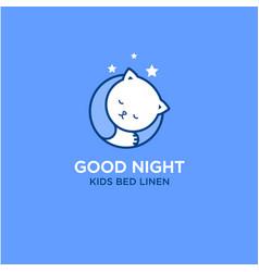 good night logo bed linen and stuff for sleep vector image