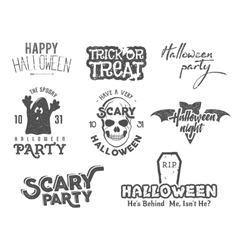 Halloween 2016 party vintage labels tee designs vector image vector image