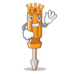 king screwdriver character cartoon style vector image