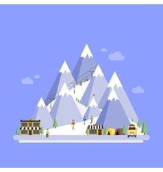 Ski Resort Mountain landscapes flat vector image vector image