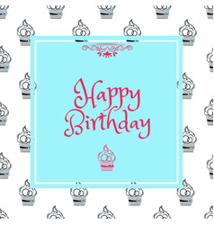Birthday card in blue square vector