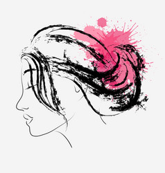 fashion portrait of woman in profile with splashes vector image