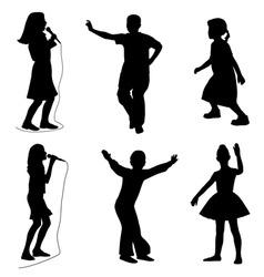 kids singing dancing vector image vector image
