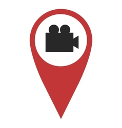 Red geo pin with video camera vector image