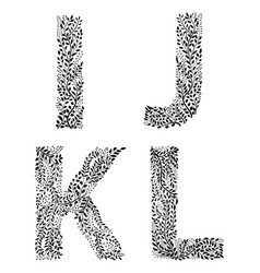 set of letters i j k and vector image vector image