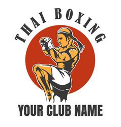 thai boxing club emblem vector image