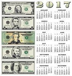 2017 financial calendar vector image vector image