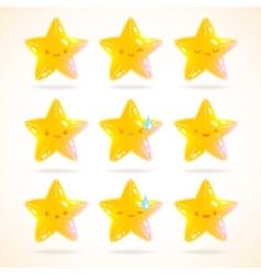 cute cartoon star emotions set vector image