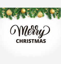 greeting card with fir tree garland ornaments and vector image vector image