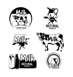 Milk logo and emblems set vector image vector image