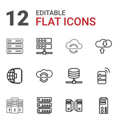 12 server icons vector