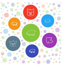 7 hog icons vector