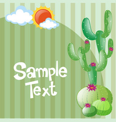 Background template with cactus and sun vector
