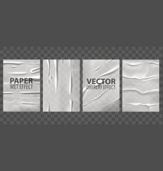 badly glued paper wet wrinkles overlay effect vector image