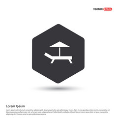 Beach umbrella and bed icon vector