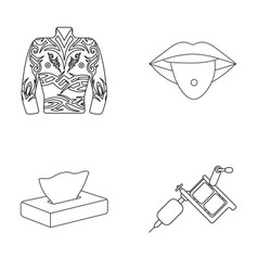 body tattoos piercings napkins tattoo machine vector image