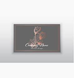 Business card templates with pink gold vector