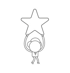 businessman character walking and holding up star vector image