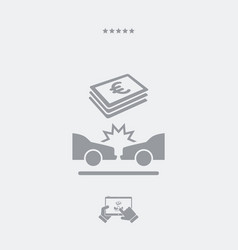 car insurance payment - euro - web icon vector image