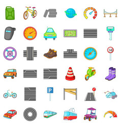 Car traffic icons set cartoon style vector