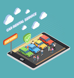 carsharing isometric concept vector image