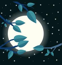 cartoon night with moon flat trees leaf and moon vector image