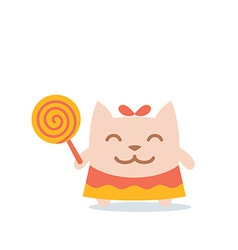 Character little girl in a dress with a bow on vector image