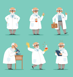 Character of old scientist or chemist mascot vector