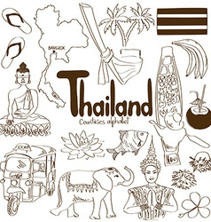 Collection of Thailand icons vector image